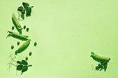 Trendy Sunlight Pattern from pods of green peas. Minimalism Green Monochrome