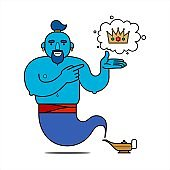 Blue genie from the lamp, cartoon character. The desire to have power. The genie will fulfill any three wishes. The crown is a symbol of power. Illustration, poster, isolated on a white background.