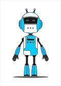 Blue Friendly Android Robot Character With Two Antennas.