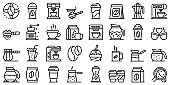 Coffee icons set, outline style