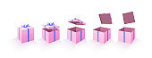 Set of opening boxes at different angles. Pink and cream cardboard box. Surprise gift box. Collection realistic gift presents view top. mockup set