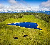 Aerial View On Idyllic Mountain Lake