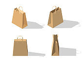 Isometric carton shopping bags. Set of packages