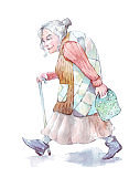 grandmother walking with a stick