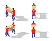 Isometric big set of delivery men in uniform holding boxes in different poses. Vector collection of delivery service workers. Detailed Fast delivery illustrations of people