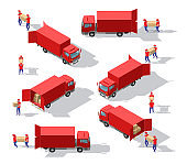 Isometric big set of delivery man in uniform holding boxes in different poses and protection masks. Vector collection delivery service workers. Fast delivery van. Isometric Logistics icons