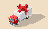 Free shipping vector illustration. Isolated delivery truck with red bow. Gift box on truck. Set of white open and closed gift box present with red ribbon bow in isometric. Cargo logistics