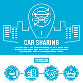 City car sharing banner, outline style
