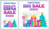 Christmase big sale flat vector banner. Christmas tree, boxes with gifts.