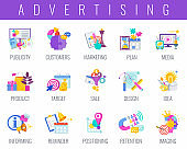 Advertising icons set. Creative Advertising and marketing strategy.
