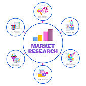 Market research infographics icons. Flat vector illustration