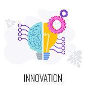 Innovation infographics icon. Half brain, half lamp. Creative technique.