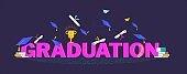 Congratulation graduates 2020 class of graduations. Flat cartoon design