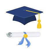 Graduation cap with diploma vector color icon.