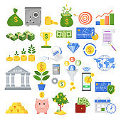 Set of icons on the theme of finance.
