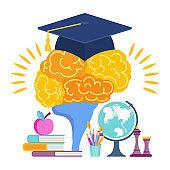 University hat on the brain. Metaphor of learning