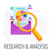 Research and analysis Implementation Icon. Flat vector illustration
