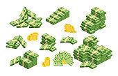 Huge packs of paper money. Flat vector illustration
