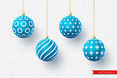3d Christmas blue balls with geometric pattern.