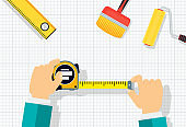 Measuring tape in the hands of a man. Template for a poster.