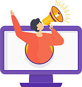 Advertising business concept. Man with a megaphone climbs out of a computer screen. Metaphor of promoting goods and services for potential customers, target audience. Flat vector cartoon illustration.