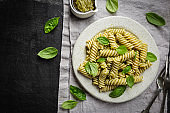 Fussili pasta with basil pesto