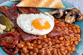 full English breakfast on a plate