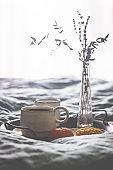 Morning coffee on metal tray