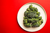 Christmas tree from broccoli