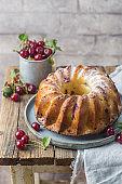 Fresh bundt cake with cherry