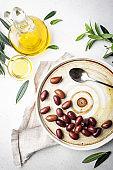 Black olives and olive oil