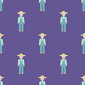 vector seamless pattern with texture images of a farmer man