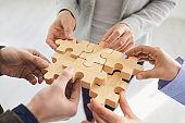 Concept of partnership creative work startup teamwork team business people.