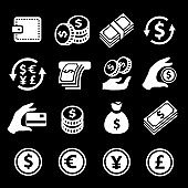Business and finance icons set, bank, coins, exchange white silhouette collection.