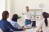 Businessman speaker or company owner making presentation and asking audience to answer