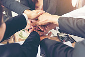 Close up of Stack hands of business people join hand together. Business People Teamwork Collaboration Relation Concept.