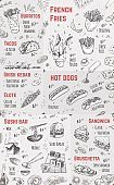 Street food festival menu design vector illustration for hipster market. Hand drawn sketch of american, mexican and asian meal at vintage brochure with prices for doner kebab, fries, sandwich and taco