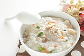 Chinese food, chicken and vegetable congee for healthy breakfast