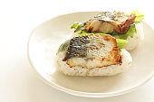 Japanese food, grilled mackerel and oba on sushi
