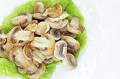 Diet food, sliced mushroom on lettuce