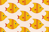 Seamless pattern background with cute exotic aquarium fishes. Vector EPS10 illustration.