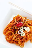 Chinese food, spicy and mince pork mixed noodles