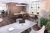 Small contemporary office interior with large office desk