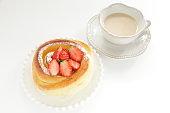Home bakery, custard and strawberry bun for breakfast