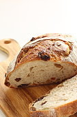 Dried fruit raisin French bread with copy space