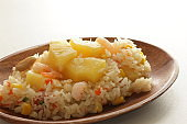Chinese food, pineapple fried rice with copy space on white background