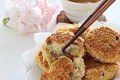 Japanese food, deep fried tofu croquette