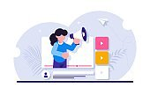 Social video marketing concept. Online advertisement, internet promotion, digital ad or promo. Woman holding bullhorn or megaphone in multimedia player window. Modern flat illustration.