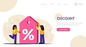 Discount label. Loyalty program. Demonstrating a large discount on a service or product. Girls get favorable terms. Landing web page template.