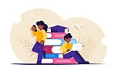 Online education. Students view lessons through mobile devices during distance learning. Modern flat vector illustration.